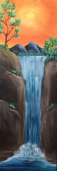 Beautiful Waterfall - Pinot's Palette Painting