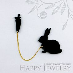 Laser Cut Rabbit with Carrot Brooch