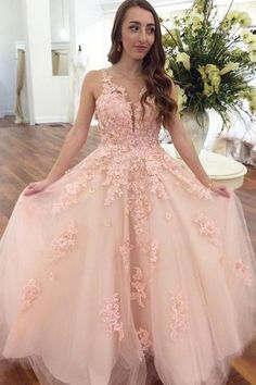 Pink lace tulle long prom dress, pink evening dress, Customized service and Rush order are available Prom Dresses Long Pink, Summer Bridesmaid Dresses, V Neck Prom Dresses, Ball Gowns Prom, Tulle Prom Dress, Lace Dress, Pastel Prom Dress, Dress Long, Pretty Dresses