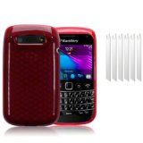 BLACKBERRY BOLD 9790 RED TPU GEL SKIN CASE / COVER + 6-IN-1 SCREEN PROTECTOR PACK PART OF THE QUBITS ACCESSORIES RANGE