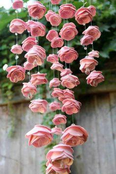 .Cascading felt roses