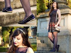 Get this look: http://lb.nu/look/7641554  More looks by Joyce Nunes: http://lb.nu/gosteieagora  Items in this look:  Antix Dress, Santa Lolla Velvet Spiked Slipper, Accessorize Golden Leaves Headpiece, Maria Filó Golden Bag   #artistic #romantic #vintage