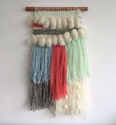 Woven Wall Hanging  Aquamarine Coral Collection 1 by Weaverella