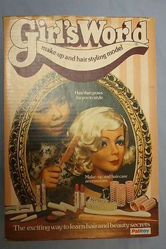 Vintage Girl's World Make-up and Hair Styling Model in Blonde by Palitoy, Boxed 1970s Childhood, My Childhood Memories, Childhood Toys, Family Memories, Sweet Memories, Vintage Girls, Vintage Toys, Retro Vintage, 80s Kids