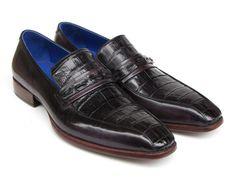 Paul Parkman Men's Black Genuine Crocodile & Purple Calfskin Loafers (ID#084)
