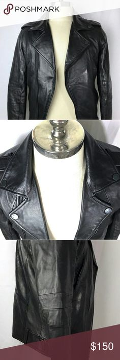 "WILLIAM RAST/ JUSTIN TIMBERLAKE BIKER JACKET VERY rare, limited edition collabo with Justin's company William RAST & Target. Don't let that association fool you! This is a very high quality, stylish 100% lamb leather jacket. The flag stitching came loose on the back so I removed it. It does have normal wear & tear, scuffs, wrinkles you expect from leather but this one is in GREAT condition! MEASURES: Length (top of collar to bottom of jacket) 26.25"" Chest (pit to pit) 20"" Sleeve 25.25""…"