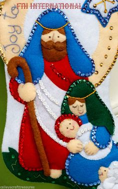 icu ~ Bucilla Joy To The World ~ Felt Christmas Stocking Kit Nativity Scene DIY Christmas Stocking Kits, Felt Christmas Stockings, Felt Stocking, Felt Christmas Ornaments, Christmas Nativity, Christmas Crafts, Christmas Wreaths, Homemade Christmas Decorations, Holiday Crafts