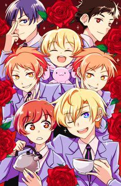 Ouran High School Host Club- the hair colours a bit off but still a good pic Colégio Ouran Host Club, Ouran Highschool Host Club, Host Club Anime, High School Host Club, Manga Anime, Fanarts Anime, Anime Art, Otaku, School Clubs