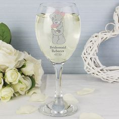 Say cheers with your bridesmaid! Personalised Wedding Wine Glass - Olive and Finch Wedding Gifts For Bridesmaids, Bridesmaid Flowers, 8th Wedding Anniversary Gift, Wedding Expenses, Wedding Planners, Flower Girl Gifts, Flower Girls, Red Wine Glasses, Inexpensive Wedding Venues