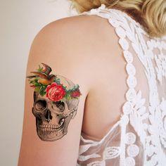 Vintage skull with flower headband temporary tattoo
