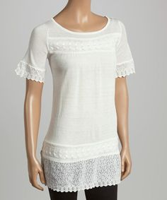 Another great find on #zulily! Ivory Metallic Crochet-Trim Tunic - Women by TBI Apparel #zulilyfinds
