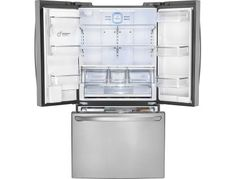LG - 24.0 Cu. Ft. Counter-Depth French Door Refrigerator with Thru-the-Door Ice and Water - Stainless Steel - AlternateView2 Zoom