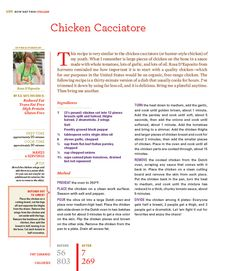 "Chicken Cacciatore from Rocco DiSpirito's Now Eat This! Italian cookbook ""My version of chicken cacciatore at just 7 grams of fat and 269 calories per serving!"" 