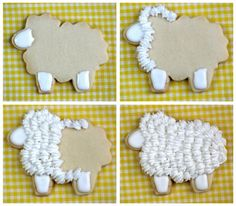 How to Make Cute Easter Lamb-Shaped Cookies Galletas Cookies, Baby Cookies, Iced Cookies, Cut Out Cookies, Cute Cookies, Easter Cookies, Royal Icing Cookies, Cookies Et Biscuits, Cupcake Cookies