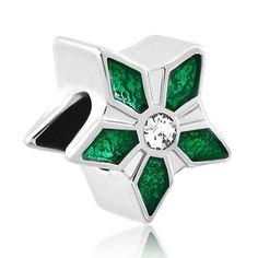1 of 3 Bead Five-pointed Star Olivine Leaf Fit All Brands Charm For Bracelet O60