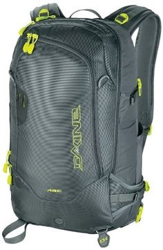 DAKINE ARC 34L (Charcoal) by Dakine. $111.97. Dedicated A-frame ski carry. Snow toolshovel pocket. Deployable helmet carry. Retractable cable ski carry. synthetic. Top load and back panel entry. Grab your snowboard and head out of bounds for a full day of safe and enjoyable snow shredding, just be certain to take the Men's Dakine ARC 34L Snow Pack. With this men's backcountry snowboarding pack you're just about setfrom the retractable cable ski carry, to the snow tool a...