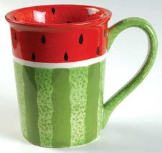 watermelon mug :) Costco Watermelon Patch, Watermelon Art, Watermelon Festival, My Coffee, Coffee Cups, National Watermelon Day, Paint Your Own Pottery, Cool Mugs, My Cup Of Tea