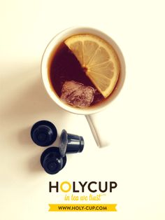 Não se esqueças de beber o teu HolyCup no fim-de-semana!  Visita-nos a qualquer hora em www.holy-cup.com e descobre o teu chá preferido em cápsulas compatíveis com as máquinas Nespresso. Nespresso, Tableware, Dinnerware, Dishes, Place Settings, Porcelain