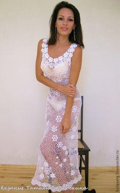 Платье белое - белый,однотонный,ручное вязание,вечернее платье,свадебное платье