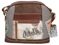 Bolso bandolera Anekke, cuero y marrón, vintage y chic, compra online y recibe en casa