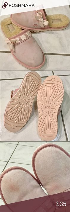 💝 UGG 💝 baby pink slippers size 7 Clean, lightweight, dainty, super comfy slippers.  Great condition. Only (minor) issue is the slight uneven color as shown in last photo. UGG Shoes Slippers