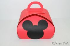 Mickey Mouse Red Favor Box Curvy Keepsakes Box by PJPaperCrafts