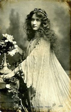 """Maude Fealy photographed by Alfred Cheney Johnston. Postcard sold by Raphael Tuck & Sons, London. This costume was used to advertise the play """"Becket"""" in which Maude was playing Rosamund De Clifford."""