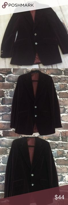 "Men's Velvet sport coat blazer jacket wine small Excellent condition velvet sport coat. Burgundy red wine men's leisure blazer jacket. Semi formal great for special occasion. 3 exterior pockets. 2 interior pockets. Fully lined. Made in the USA. Double button front. Double vented slits in back for mobility. Phoenix Clothes. Use measurements for sizing.  Armpit to armpit 19"" Length 32"" Underarm 18"" Phoenix Clothes Suits & Blazers Sport Coats & Blazers"