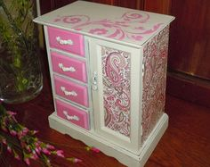 Pretty in Pink Jewelry Music Box.  Pink Paisley. Upcycled. Refinished. Hand painted, stenciled and decoupage!