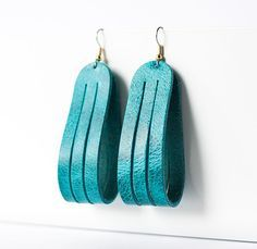 Leather Earrings / Sliced Leather / Arctic Ocean