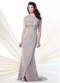 Glamorous Tulle & Chiffon Sheath Jewel Neckline Full-length Mother of the Bride Dress