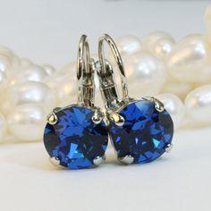 Royal Blue Earrings Cobalt Blue Swarovski Crystal Royal Blue Wedding 8mm single stone Drop Earrings Rhinestone,Silver finish,Capri Blue, SE2