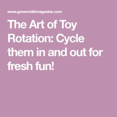 The Art of Toy Rotation: Cycle them in and out for fresh fun!