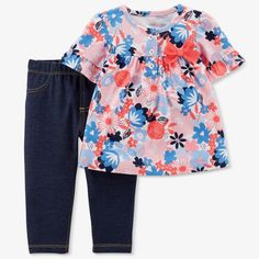Chambray Plaid Or Floral NWT Carter/'s Baby//Toddler Girls/' Tunic Top /& Leggings