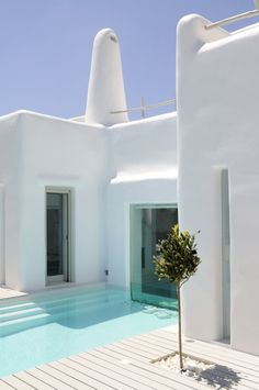 This sensational summer house is situated in the eastern part of the island of Paros Cyclades in Greece. Designed by inteiror designer Alexandros Logodotis, the home has been declared a nature of traditional Cycladic architecture Cyclades Greece, Greece House, Greece Design, Stucco Walls, Pool Designs, House Tours, Architecture Design, House Styles, Outdoor
