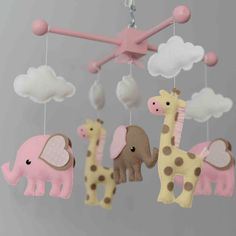 Elephant Mobile  Giraffe Mobile  Custom Mobile by TayloredWhimsy, $95.00