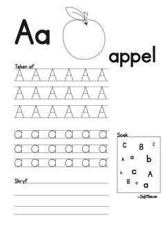 Kraftimama Free Printables, Uitdrukke Verniet, A Apie Activities For 5 Year Olds, Preschool Learning Activities, Free Preschool, Classroom Activities, Kids Learning, Grade R Worksheets, Phonics Worksheets, Worksheets For Kids, Teaching The Alphabet