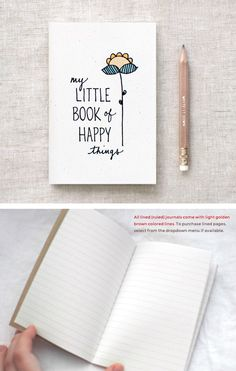 Hand Lettered Mini Journal & Pencil Gift Set, Illustrated Mothers Day Gift, Floral Notebook, Birthday Gift - My Little Book of Happy Things von HappyDappyBits auf Etsy https://www.etsy.com/de/listing/100420875/hand-lettered-mini-journal-pencil-gift