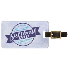 Customize Your Own Softball Dad Luggage Tag.  Easy to customize! Add your own text to the back of these unique sports themed luggage tags, just $11.95: http://www.zazzle.com/gamefacegear*/ and click on the 'Customizable Luggage Tags' category. #luggagetags #softball