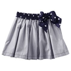Hickory Stripe Skirt from OshKosh B'gosh. A versatile skirt with a beautiful bow is a must-have. Pair with an embellished tee, and she's ready for a walk in the park. Little Girl Summer Dresses, Little Girl Dresses, Girls Dresses, Baby Skirt, Baby Dress, Toddler Girl Outfits, Kids Outfits, Baby Girl Bottoms, Skirts For Kids
