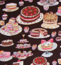 Chocolate Tea Party Fabric