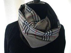 écharpe snood homme style burberry et tweed beige et marron : Echarpe, foulard, cravate par picotipicota