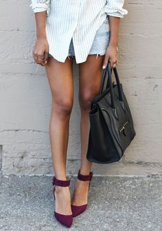 denim shorts + shirt + heels