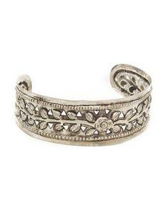 floral silver cuff bracelet
