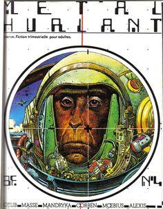 """Moebius' cover to Metal Hurlant #4  Revista que nos ayudo a descubrir el """"Comic"""" con mayúsculas"""