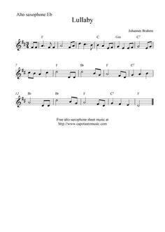 alto saxophone sheet music | Lullaby by Johannes Brahms, free alto saxophone sheet music notes