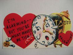 Vintage Valentine Card Anthropomorphic Alarm Clock You're What Makes Me Tick New | eBay
