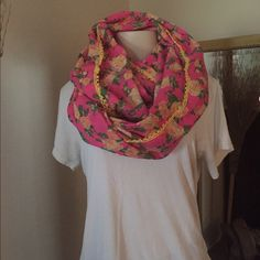 Betsy Johnson Infinity Scarf Pink Floral Betsy Johnson Infinity Scarf. Soft and very versatile. Can be worn all 4 seasons! Betsey Johnson Accessories Scarves & Wraps