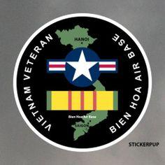 Air Force Vietnam Veteran Stickers Qty 8 Bien Hoa War Base Saigon | eBay
