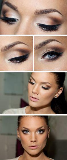 Brown smoky eye with bronzed skin